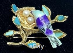 Vintage 10k Solid Yellow Gold Painted Bird Turquoise Pearls Bird Nest Pin Brooch