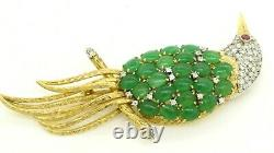 Vintage 14K 2-tone gold beautiful 1.77CTW diamond/ruby/jade cluster bird brooch
