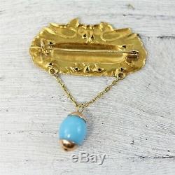 Vintage 14K Rose Yellow Gold Art Glass Birds Flower Brooch Pin Dangle Luxury