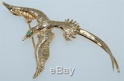 Vintage 14K Yellow Gold Bird of Paradise Green Garnet Eye Brooch Pin Pendant