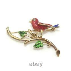 Vintage 14K Yellow Gold Enamel Cardinal Bird Diamond Pin Brooch
