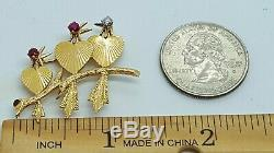 Vintage 14K Yellow Gold Heart Birds On Branch withRubies & Diamond Brooch