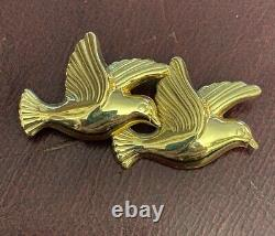 Vintage 14K Yellow Gold Modern Birds Pin or Brooch