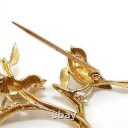 Vintage 14K Yellow Gold Pink Ruby Perched Robin Bird Pin Brooch