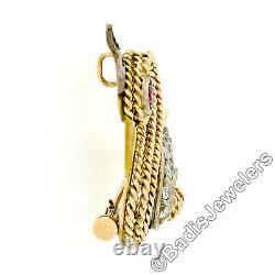 Vintage 14k Gold 0.28ctw Round Diamond Twisted Wire Bird Swan Brooch Pin Pendant