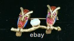 Vintage 14k Gold Opal Ruby Enamel Owl Bird Brooch-Estate Jewelry F & F Felger 6g