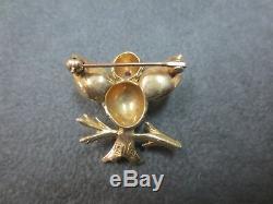 Vintage 14k Solid Yellow Gold Bird Branch Brooch Pin Ruby Eye 4.65 Gram