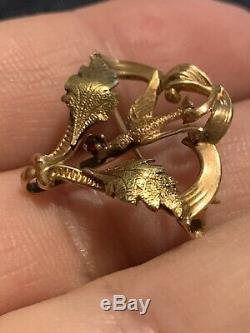 Vintage 14k Yellow GOLD Bird Dove Pin. 585 Brooch Pendant