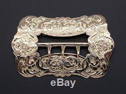 Vintage 14k Yellow Gold Ornate Belt Buckle Swirl Flower Bird Brooch Pin