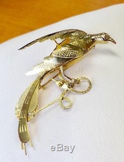 Vintage 14k Yellow Gold Phoenix Pheasant Bird Hunting Snake Pin Brooch, Pendant
