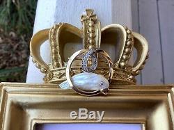 Vintage 14k Yellow Gold Platinum Baroque Pearl Bezel Diamond Bird Brooch Pin