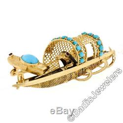 Vintage 14k Yellow Gold Turquoise & Ruby Birds on a Boat Unique Brooch Pin