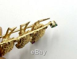 Vintage 14k gold & ruby 4 baby birds pin/brooch