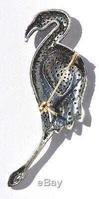 Vintage 14kt Aaa Blue Sapphire Ruby Diamond Swan Bird Brooch
