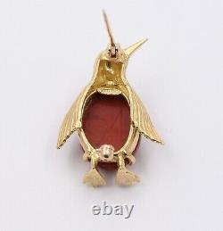 Vintage 18K Gold and Jasper Penguin Brooch, Italian Bird Pin