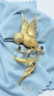 Vintage 18K Karat Yellow Gold Signed Italian Bird Brooch With Diamonds & Sapphire