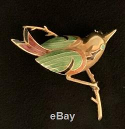 Vintage 18k 750 Yellow Gold Enamel Bird Brooch Bright Colors 45mm Long