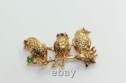 Vintage 18k Gold 3 Birds On Branch Singing Pin With Stones