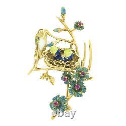 Vintage 18k Gold Ruby Enamel Flower Mother Bird Feeding Babies on Branch Brooch