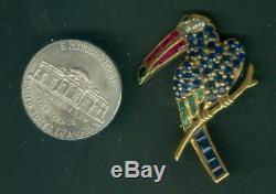 Vintage 18k Gold Toucan Stork Crane Bird Pin / Brooch Sapphire Ruby Diamond