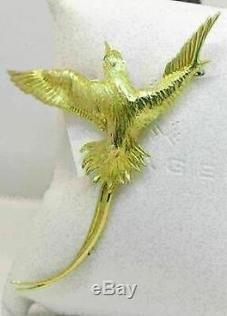 Vintage 18k Yellow Gold'bird' Brooch With Diamond #l21