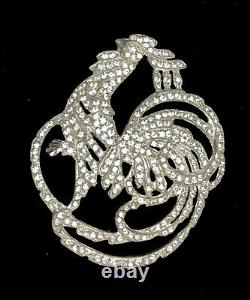 Vintage 1930s Bird Brooch Pave Rhinestone Rooster Peacock Pin Delicate Detail