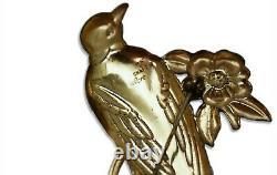 Vintage 1940's Coro Craft Brooch/Pin Large Enamel Painted Bird on flower branch
