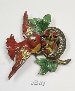 Vintage 1940's Enamel Birds Nest Brooch Fred Gray Pin