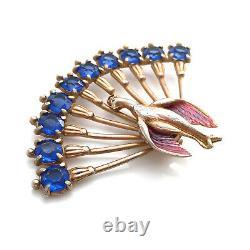 Vintage 1940s Peacock Lucite Rhinestone Enamel Pot Metal Brooch Bird Figural Pin