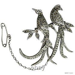 Vintage 1950's Australian Lega Stg Silver MARCASITE'BIRD OF PARADISE' BROOCH