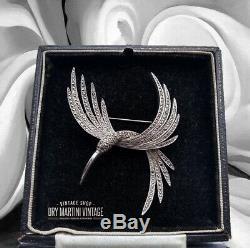 Vintage 1950s Art Deco Signed Sphinx Rare Marcasite Bird Brooch Pin Collector