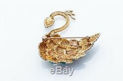 Vintage 1950s Blue Green Enamel PEACOCK SWAN 14k Yellow Gold BIRD Pin Brooch