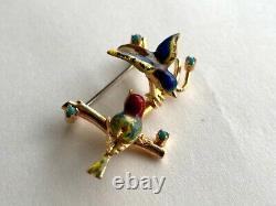 Vintage 1970's Italian 18K Gold Enamel Bird Pin / Brooch With Gems