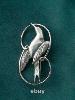Vintage 1973 Shetland Silver Arctic Tern Sea Bird Brooch