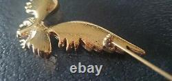 Vintage 1995 Trifari Jewelry Rhinestone Gold Tone Eagle Bird Brooch Pin