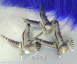 Vintage 1 1/2 BEAU Flight Of Three Birds Sterling Silver 0.925 Brooch Broach