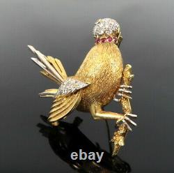 Vintage 1.50ct Diamond & 0.35ct Ruby 14K Yellow Gold Handmade Bird Brooch