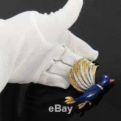 Vintage 2.50ct Diamond Coral & Lapis Lazuli 18K Gold Hand Made Bird Brooch