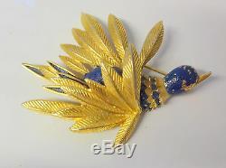 Vintage 40s Signed St. Labre Enamel Exotic Blue Bird Pin Brooch