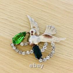 Vintage 40s Sterling Silver Bird Brooch Pin