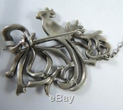 Vintage 4.5cm Solid Silver Marcasite Bird Brooch c1950