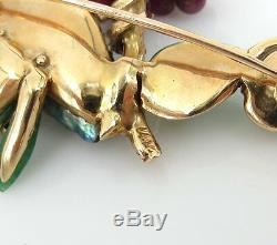 Vintage 5.0ct Ruby 4.0ct Emerald Pearl & Jade 14K Yellow Gold Bird Brooch