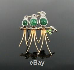 Vintage 5.50ct Emerald & 1.0ct Diamond Platinum & 14k Yellow Gold Bird Brooch