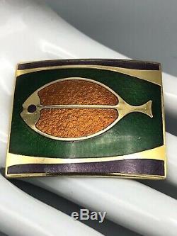 Vintage 70s De Passille Sylvestre Enamel Brooch and Pendant Fish Birds Modernist