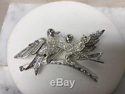 Vintage ALICE CAVINESS Sterling Silver 925 Filigree Love BIRDS Pin Brooch Rare