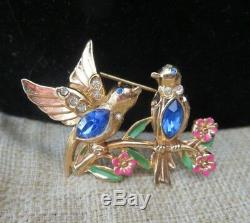 Vintage A. Katz for Coro Bird Rhinestone enamel Pat Pending Brooch