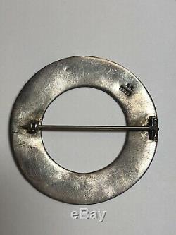 Vintage Alexander Ritchie Scottish Sterling Silver Iona Bird Annular Brooch Pin