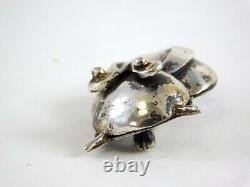 Vintage Algeo Sterling Silver Owl Pin Modernist Design Brooch 925 Bird 1 5/8 In