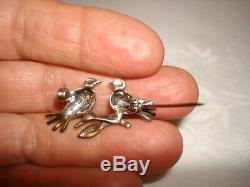 Vintage Alice Caviness Marcasite Birds Sterling Silver Enamel Pin Brooch Germany