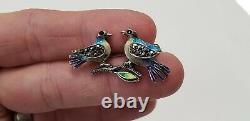 Vintage Alice Caviness Sterling Marcasite Enamel Birds Pin Brooch Germany